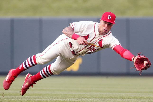 St. Louis Cardinals second baseman Kolten Wong won his first career Gold Glove Award Sunday. File Photo by Bill Greenblatt/UPI
