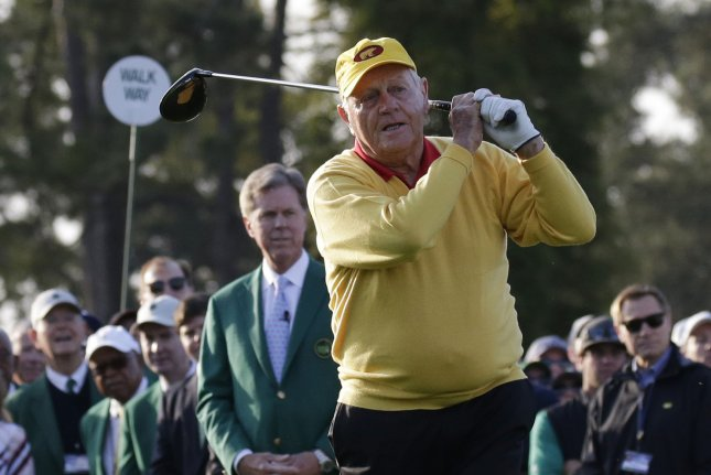 Jack Nicklaus hits the ceremonial first tee shot with Gary Player before the first round at the 2019 Masters Tournament at Augusta National Golf Club in Augusta, Ga., on April 11. He turns 80 on January 21. File Photo by John Angelillo/UPI