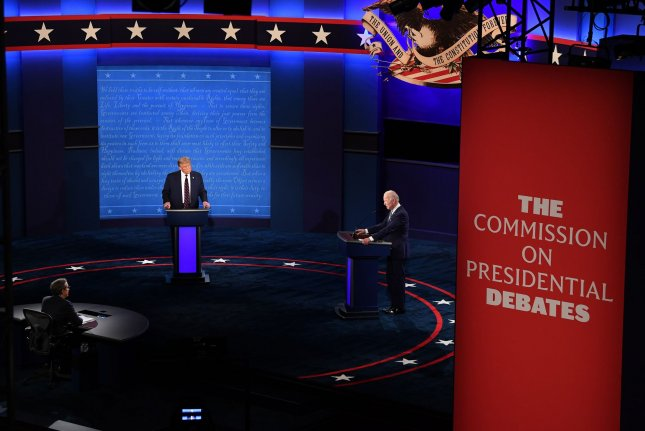 President Donald Trump (L) and Democratic presidential nominee Joe Biden are seen during the first presidential debate in Cleveland on September 29. Photo by Kevin Dietsch/UPI