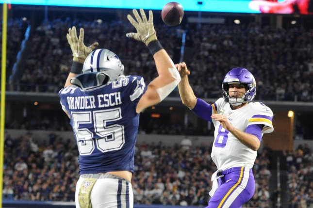 Dallas Cowboys linebacker Leighton Vander Esch (55) suffered a broken collarbone in the Cowboys' Week 1 game against the Los Angeles Rams. File Photo by Ian Halperin/UPI