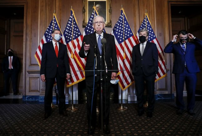 Senate Majority Leader Mitch McConnell, R-Ky., takes questions Tuesday as he speaks during a news conference with other Senate Republicans at the U.S. Capitol in Washington, D.C. Pool photo by Tom Brenner/UPI