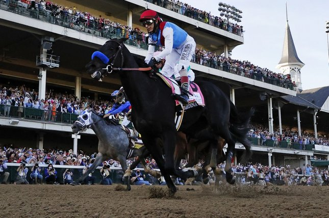 Medina Spirit received a second positive test for the banned steroid betamethasone, which puts the colt's victory from the 2021 Kentucky Derby in further jeopardy. File Photo by Jason Szenes/UPI