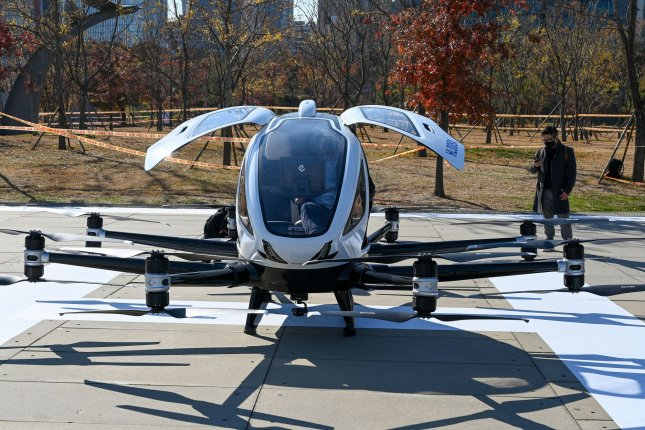 A two-seat flying drone to be used as a taxi is on display after a demonstration flight in Seoul in November. South Korea is looking to commercialize urban air mobility by 2025. File Photo by Thomas Maresca/UPI