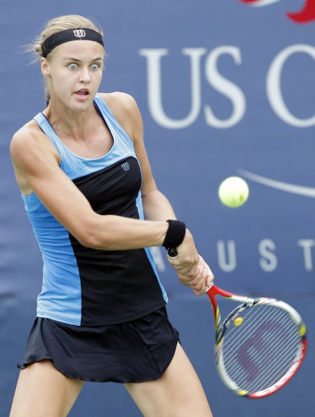 Anna Schmiedlova, shown at this year's U.S. Open, was a 6-0, 6-0 winner Wednesday in her second-round match at the WTA's Nanjing Ladies Open. UPI/John Angelillo