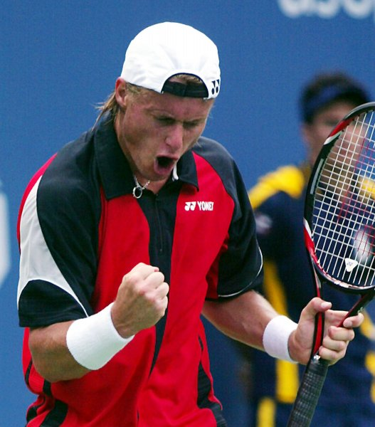 Lleyton Hewitt of Austria plays against Amer Delic of the USA during Round 1 of the U.S. Open at the USTA Billie Jean King National Tennis Center in Flushing Meadows-Corona Park in New York on August 28, 2007. (UPI Photo/Laura Cavanaugh)