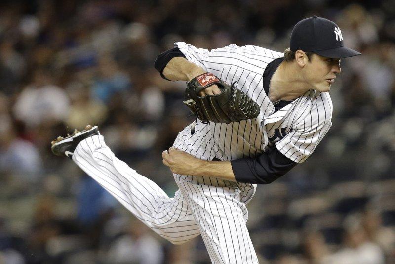 New York Yankees pitcher Andrew Miller. Photo by John Angelillo/UPI