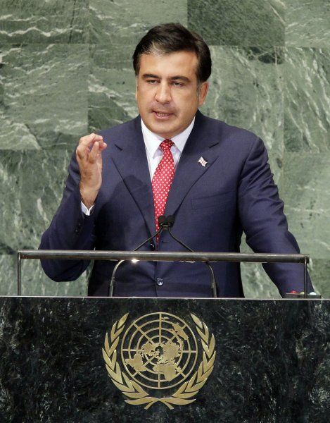 Mikheil Saakashvili, here speaking at the United Nations in 2013 as president of the Republic of Georgia, resigned his position as governor of Ukraine's Odessa region, saying rampant corruption by politicians slowed reform efforts. File Photo by John Angelillo/UPI