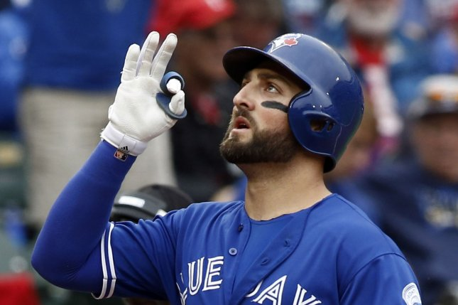 Toronto Blue Jays' Kevin Pillar reacts as he crosses home plate. Pillar had three hits Wednesday night. File photo by Mike Stone/UPI