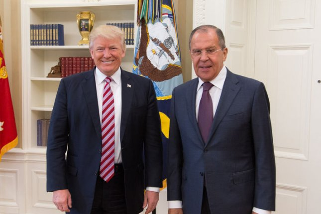 In photos released May 15, 2017, President Donald Trump meets with Russian Foreign Minister Sergey Lavrov in the Oval Office. Lavrov said Tuesday that U.S. sanctions on Russia are meant as cover for a U.S. push into the European energy sector. Official White House photo by Shealah Craighead/UPI
