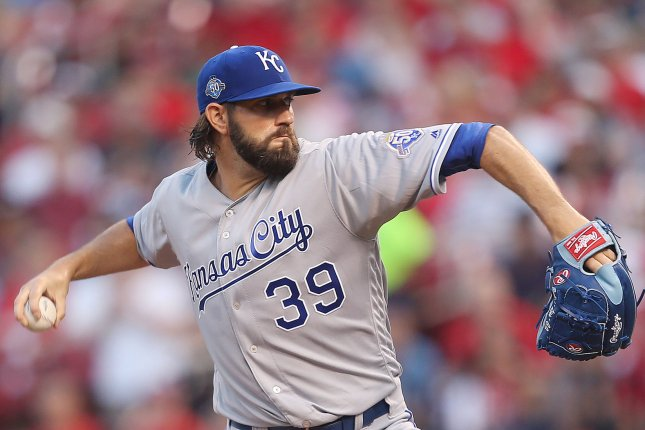 Kansas City Royals starting pitcher Jason Hammel delivers a pitch to the St. Louis Cardinals in the second inning on May 22, 2018 at Busch Stadium in St. Louis. Photo by Bill Greenblatt/UPI
