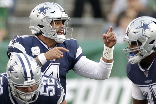 Dallas Cowboys quarterback Dak Prescott (4) said in his post on social media that he also has battled anxiety during the coronavirus pandemic. File Photo by John Angelillo/UPI