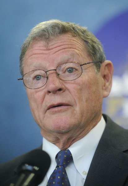 Sen. James Inhofe (R-OK) speaks at a news conference on the We Get It! campaign, which aims at uniting people behind Biblical perspectives on the environment and the poor, in Washington on May 15, 2008. The campaign denounces the widely held view that humans are speeding the effects of global warming and instead says that the affects to counteract global warming are hurting the poor by raising the cost of energy and food while cutting jobs. (UPI Photo/Kevin Dietsch)