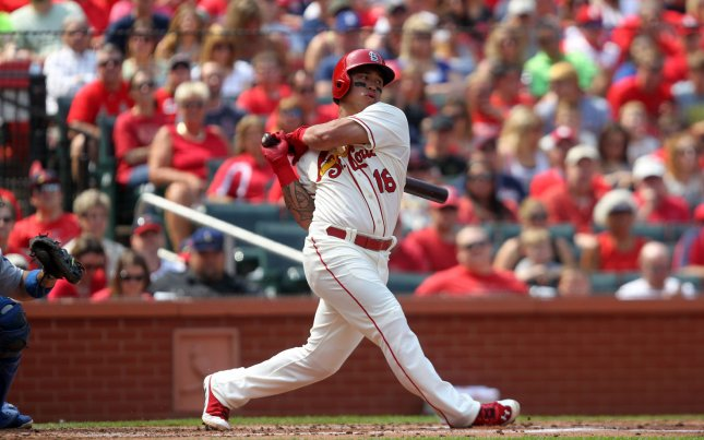 St. Louis Cardinals swings for a infield single in the first inning against the Los Angeles Dodgers at Busch Stadium in St. Louis on July 19, 2014. Wong got the offense started as St. Louis scored four times in the first inning and winning the game 4-2. UPI/Bill Greenblatt