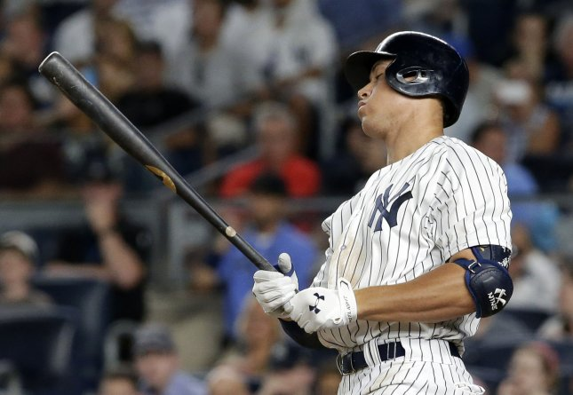 Aaron Judge and the New York Yankees battled past the Baltimore Orioles on Thursday. Photo by John Angelillo/UPI