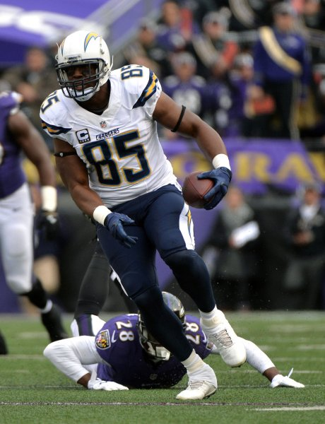 Los Angeles Chargers tight end Antonio Gates runs for a first down against the Baltimore Ravens during a game in 2014. Photo by Kevin Dietsch/UPI