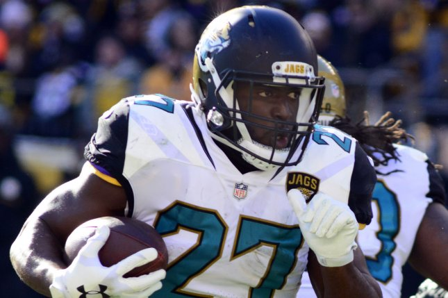 Jacksonville Jaguars running back Leonard Fournette (27) breaks to the right and runs to the corner for a touchdown in the first quarter against the Pittsburgh Steelers on January 14, 2018 at Heinz Field in Pittsburgh. Photo by Archie Carpenter/UPI