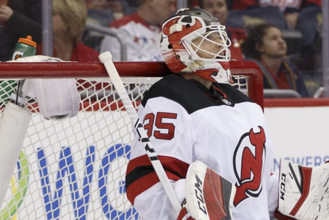 Cory Schneider and the New Jersey Devils take on the Detroit Red Wings on Thursday. Photo by Alex Edelman/UPI