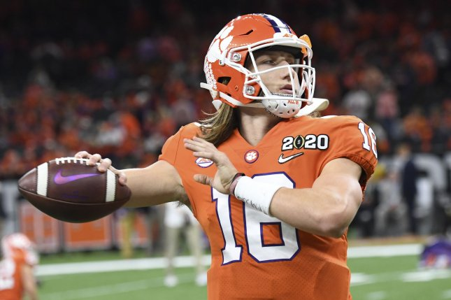 Clemson quarterback Trevor Lawrence completed 65.8 percent of his throws for 3,665 yards, 36 touchdowns and eight interceptions in 15 games this season. Photo by Pat Benic/UPI