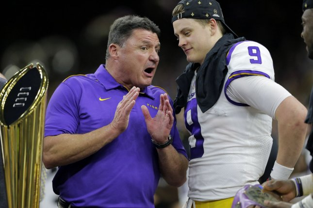 LSU Tigers coach Ed Orgeron said he was unaware of quarterback Joe Burrow (9) and some of his teammates receiving money from Cleveland Browns star Odell Beckham Jr. after winning the national championship Monday in New Orleans. Photo by AJ Sisco/UPI