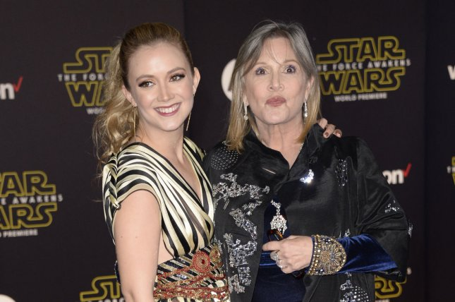 Billie Lourd (L) marked the fourth anniversary of her mother Carrie Fisher's death on Instagram Sunday. File Photo by Phil McCarten/UPI