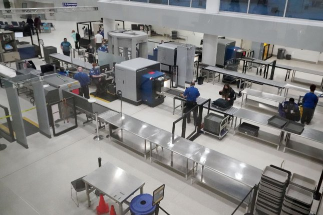 The TSA checkpoint at St. Louis-Lambert International Airport serviced very few holiday travelers in St. Louis last year amid the pandemic. File Photo by Bill Greenblatt/UPI