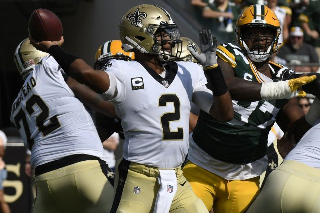 New Orleans Saints quarterback Jameis Winston throws a pass in the first quarter against the Green Bay Packers on Sunday at TIAA Bank Field in Jacksonville, Fla. Photo by Joe Marino/UPI