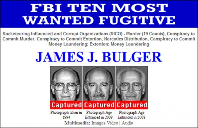 This FBI compilation shows one of the FBI's most wanted fugitives, James Whitey Bulger, who was arrested on June 22, 2011. Bulger was on the run for 17 years and is wanted for a variety of crimes in the Boston area including 19 different murders, drug trafficking and extortion he was caught by FBI agents in California with his girlfriend, Catherine Greig. UPI/FBI Handout