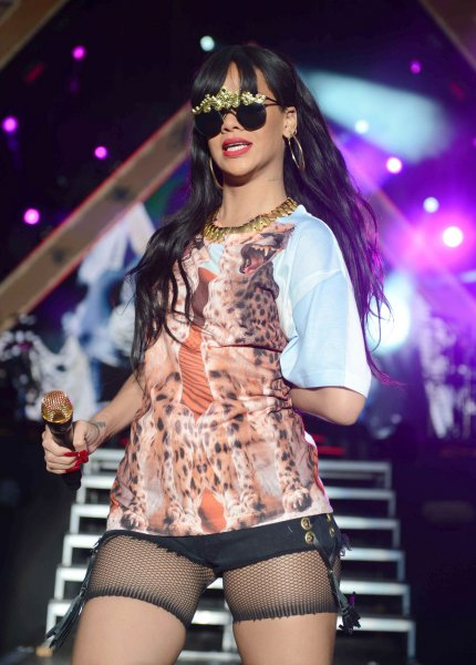 Barbadian singer Rihanna performs live during the BBC Radio 1 Hackney Weekend 2012 at Hackney Marshes in London on June 24, 2012. UPI/Paul Treadway..