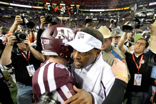 Texas A&M head coach Kevin Sumlin received a racist letter from a fan this week, according to his wife. File photo by David Tulis/UPI