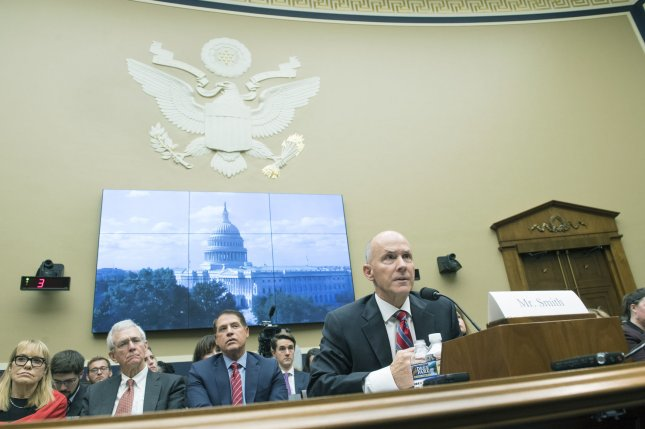 Richard Smith, former Chairman and CEO, Equifax Inc., testifies during a House Energy and Commerce Committee hearing on Tuesday. Photo by Kevin Dietsch/UPI