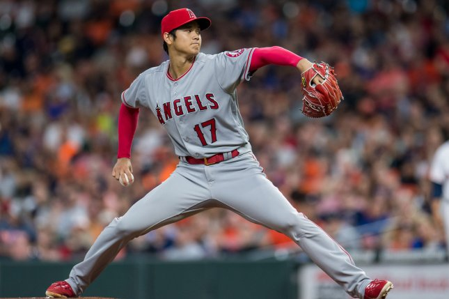 Los Angeles Angels starting pitcher Shohei Ohtani was 4-2 with a 3.31 ERA last season. File Photo by Trask Smith/UPI