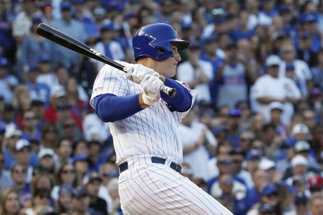 Chicago Cubs first baseman Anthony Rizzo will earn $16.5 million next season, the first of two option years that the Cubs hold on him. File Photo by Kamil Krzaczynski/UPI