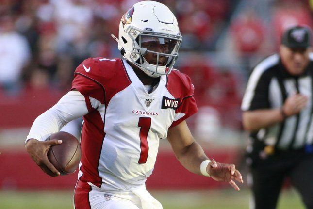Arizona Cardinals quarterback Kyler Murray has been one of the best fantasy football players this season and is my No. 1 quarterback for Week 7. File Photo by Bruce Gordon/UPI