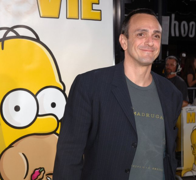 Hank Azaria, the voices of numerous characters including Comic Book Guy, Moe, Chief Wiggum, Professor Fink, Lou and Carl, in the animated motion picture comedy The Simpsons Movie, arrives at the premiere of the film in the Westwood section of Los Angeles on July 24, 2007. (UPI Photo/Jim Ruymen)
