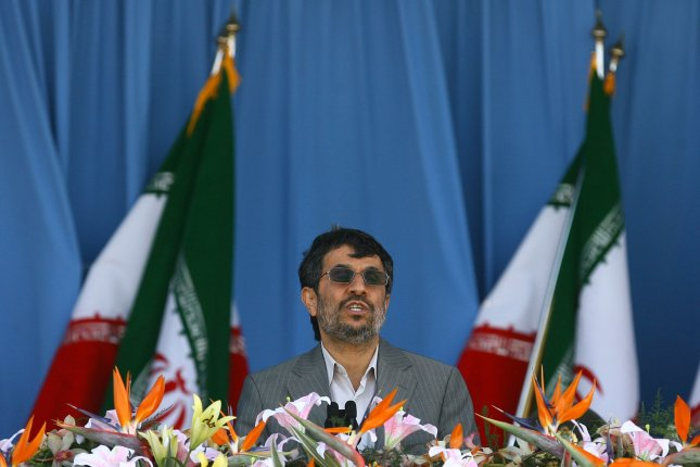 Iranian President Mahmoud Ahmadinejad speaks a pause in the National Army Day military parade in front of the mausoleum of the Iran's late leader Ayatollah Khomeini in Tehran, Iran on April 18, 2011. The Iranian President Mahmoud Ahmadinejad used the occasion to accuse the United States for sowing discord in the Middle East. UPI/Maryam Rahmanian