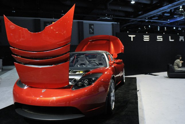 A Tesla Roadster is displayed at the Washington Auto Show in Washington in 2009. File Photo by Alexis C. Glenn/UPI
