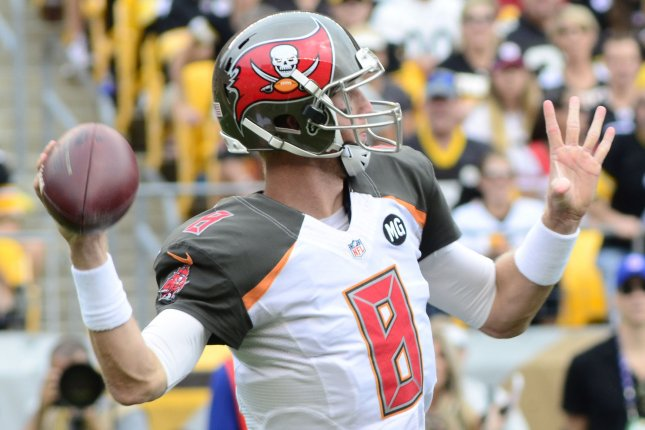 Tampa Bay Buccaneers quarterback Mike Glennon (8) steps back to pass during the first quarter against the Pittsburgh Steelers at Heinz Field in Pittsburgh on September 28, 2014. UPI/Archie Carpenter