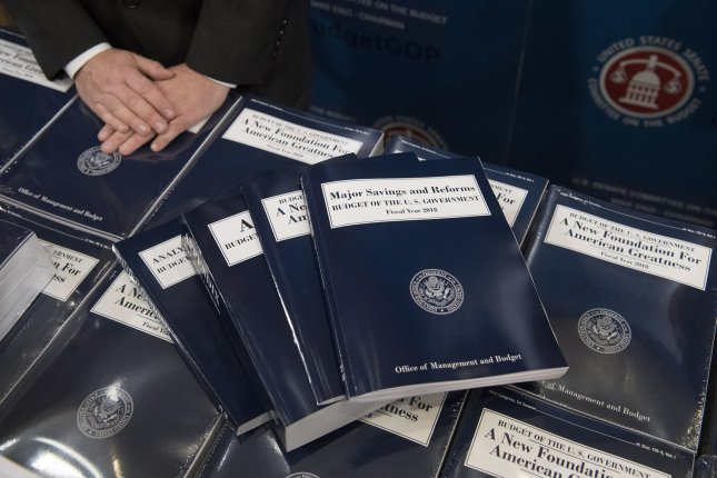 Copies of President Donald Trump's full budget proposal for fiscal year 2018 are distributed by the Senate Budget Committee on Capitol Hill in Washington, D.C., on May 23. File Photo by Kevin Dietsch/UPI