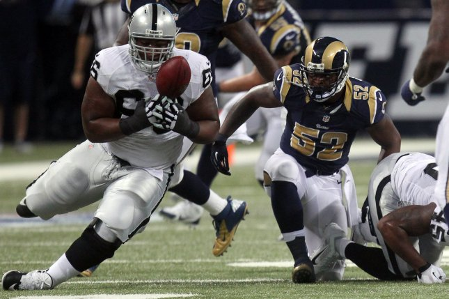 Oakland Raiders RG Gabe Jackson is the second player in as many weeks to earn a rich contract extension from the franchise. File Photo by Bill Greenblatt/UPI