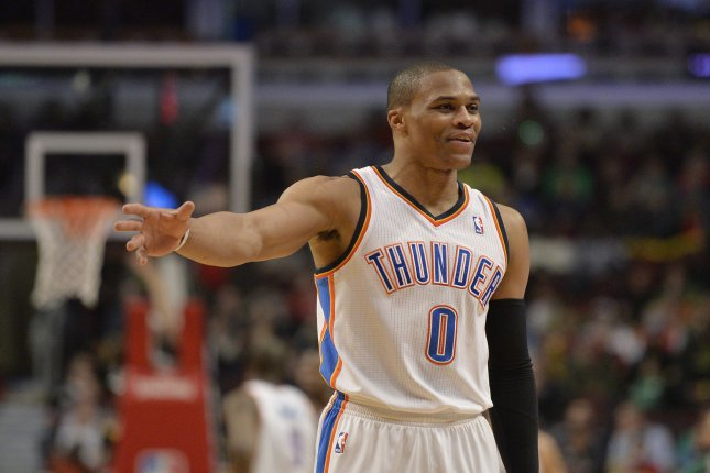Oklahoma City Thunder guard Russell Westbrook. File Photo by Brian Kersey/UPI