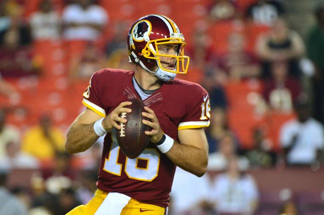 Washington Redskins backup quarterback Colt McCoy (16) looks to pass against the Jacksonville Jaguars on September 3, 2015 at FedEx Field in Washington, D.C. File photo by Kevin Dietsch/UPI