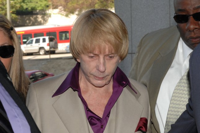 Music producer Phil Spector arrives at Los Angeles Superior Court for opening statements in his murder trial in Los Angeles on April 25, 2007. On April 13, 2009, Spector was found guilty of second-degree murder by a Los Angeles jury in his second trial for the 2003 slaying of Lana Clarkson. File Photo by Jim Ruymen/UPI