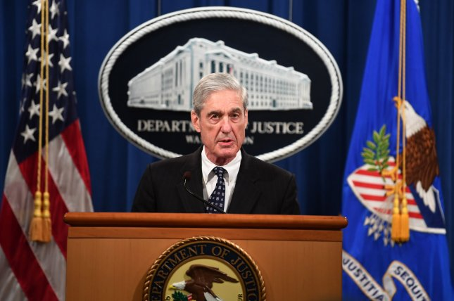 Special counsel Robert Mueller speaks Wednesday about his two-year investigation regarding Russian interference in the 2016 presidential election, at the Department of Justice in Washington, D.C. Photo by Kevin Dietsch/UPI