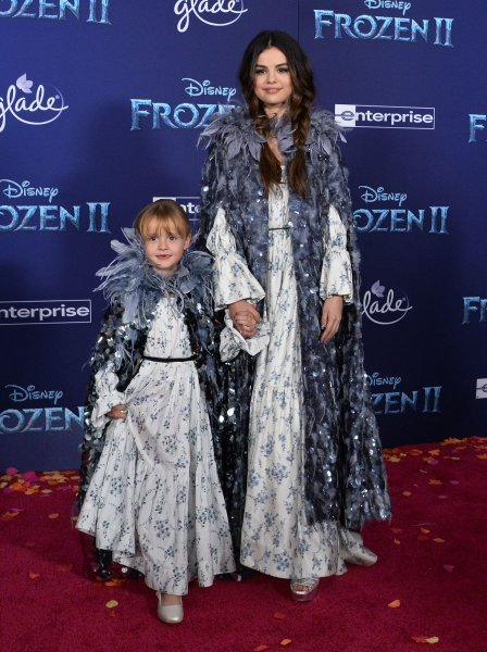 Selena Gomez (R) and Gracie Teefey attend the Los Angeles premiere of Frozen 2 on Thursday. Photo by Jim Ruymen/UPI