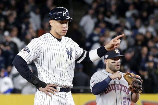 New York Yankees star outfielder Aaron Judge has a stress fracture in his first right rib. File Photo by John Angelillo/UPI