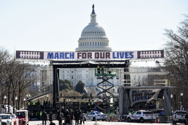 The March For Our Lives Action Fund was one of seven groups that signed an open letter to former Vice President Joe Biden calling on him to support a reduction in gun deaths by 50 percent within 10 years. File Photo by Leigh Vogel/UPI