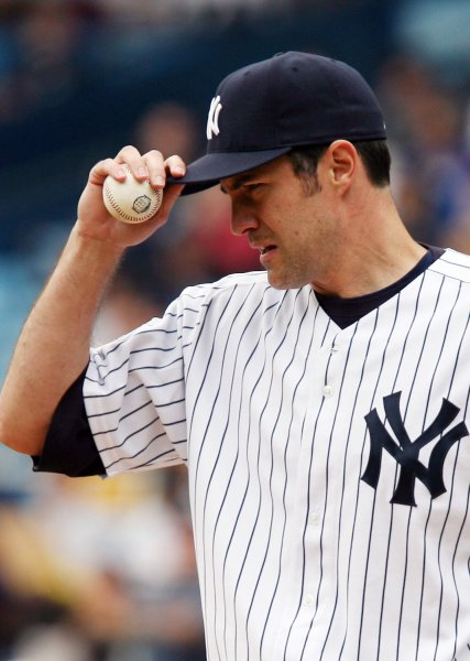 New York Yankees starting pitcher Mike Mussina, shown during a game in May 2008, announced his retirement Thursday after 18 seasons in the major leagues. (UPI Photo/John Angelillo)