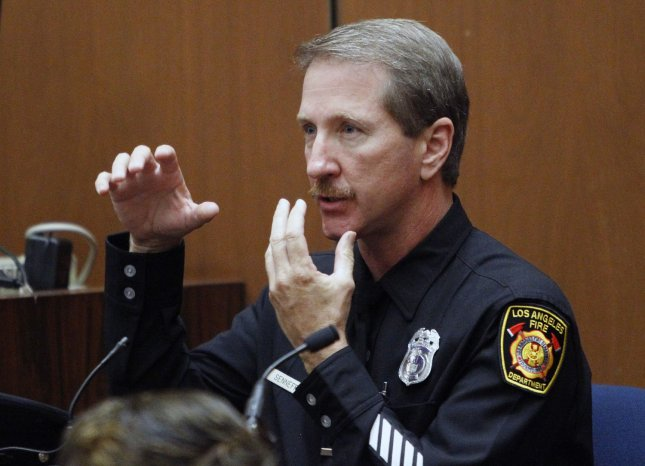 Paramedic Richard Senneff testifies in the Dr. Conrad Murray involuntary manslaughter trial in Los Angeles on September 30, 2011. Senneff testified that Murray told him that Michael Jackson wasn't being treated for any specific condition.The trial is in its fourth day. UPI/Al Seib/pool