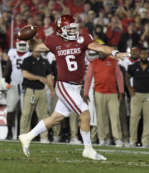 Former Oklahoma quarterback Baker Mayfield gets ready to pass against Georgia in the 2018 Rose Bowl in January. Photo by Juan Ocampo/UPI