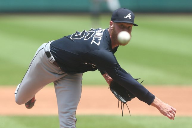 Atlanta Braves starting pitcher Mike Foltynewicz delivers a pitch to the St. Louis Cardinals in the third inning on July 1, 2018 at Busch Stadium in St. Louis. Photo by Bill Greenblatt/UPI